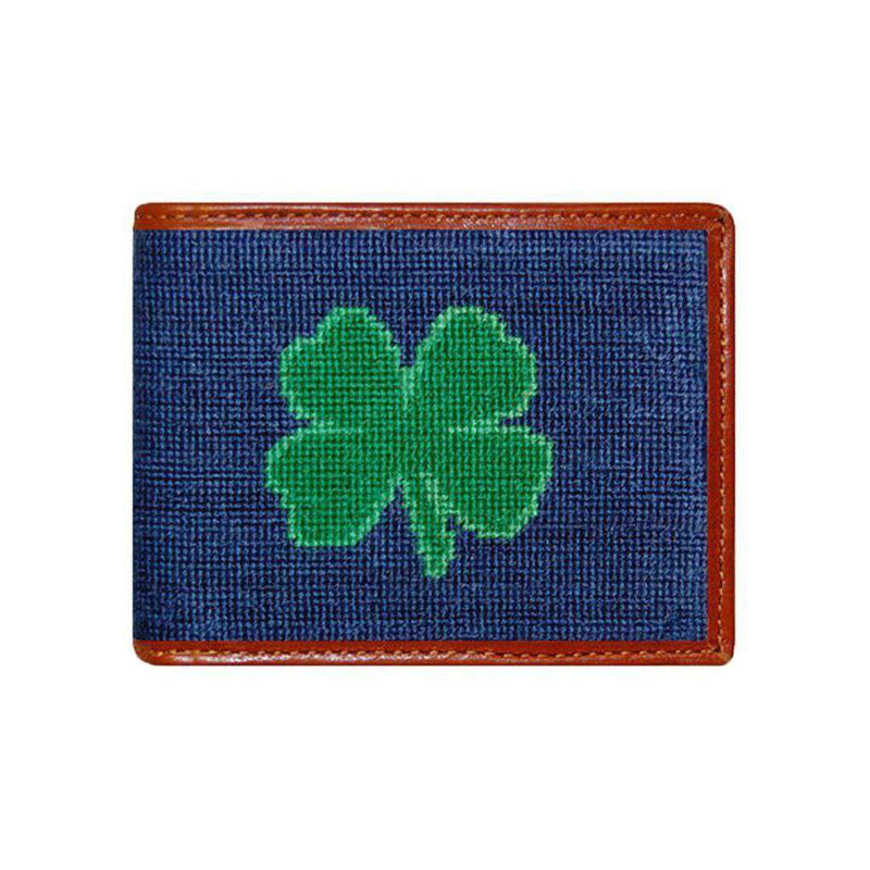 Wallets - Clover Needlepoint Wallet In Navy By Smathers & Branson