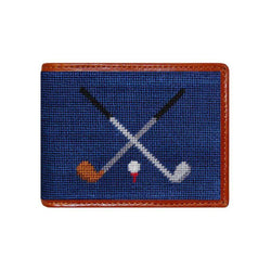 Crossed Clubs Needlepoint Bi-Fold Wallet by Smathers & Branson
