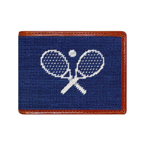 Crossed Racquets Needlepoint Wallet in Classic Navy by Smathers & Branson