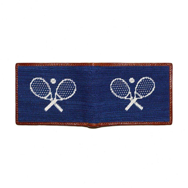 Wallets - Crossed Racquets Needlepoint Wallet In Classic Navy By Smathers & Branson