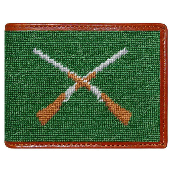 Wallets - Crossed Shotguns Needlepoint Wallet In Green By Smathers & Branson
