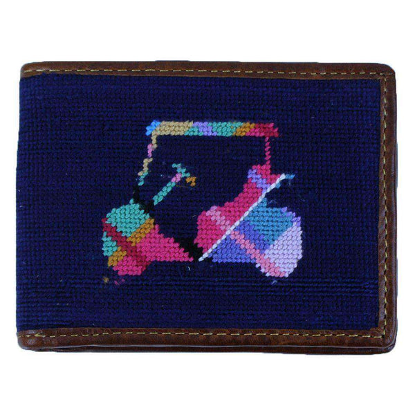Wallets - Custom Madras Golf Cart Needlepoint Wallet In Dark Navy By Smathers & Branson