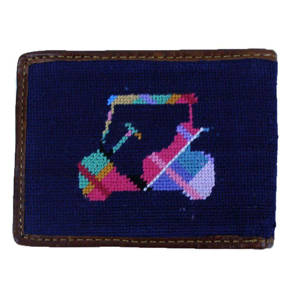 Custom Madras Golf Cart Needlepoint Wallet in Dark Navy by Smathers & Branson