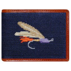 Wallets - Fly Fishing Needlepoint Wallet In Navy By Smathers & Branson