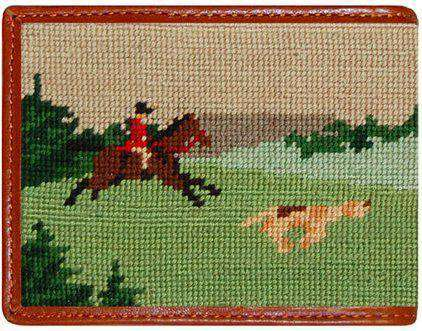 Wallets - Fox Hunting Scene Needlepoint Wallet In Navy By Smathers & Branson