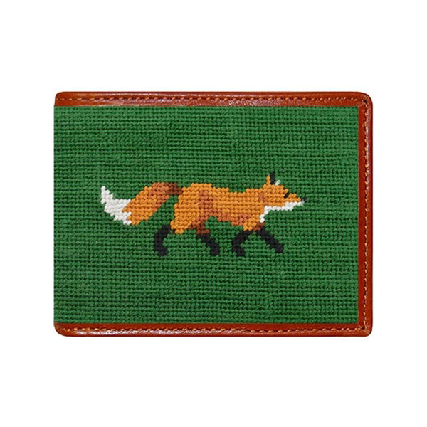 Wallets - Fox Needlepoint Wallet In Dark Forest By Smathers & Branson
