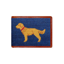 Wallets - Golden Retriever Needlepoint Wallet In Navy By Smathers & Branson