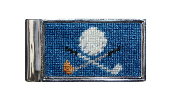 Golf Clubs Needlepoint Money Clip by Smathers & Branson