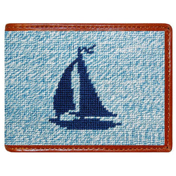 Heathered Sailboat Needlepoint Wallet in Blue by Smathers & Branson