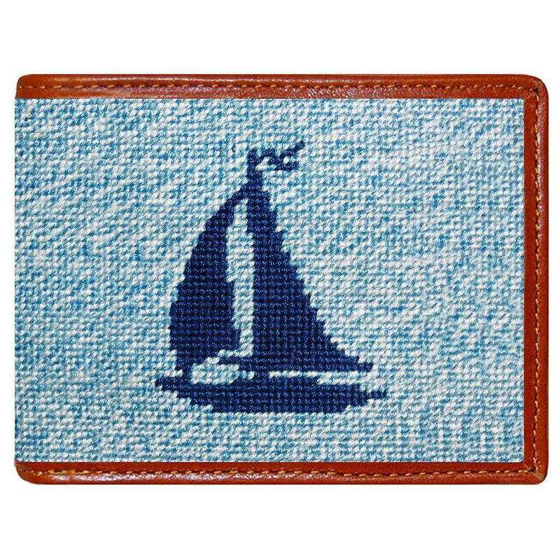 Wallets - Heathered Sailboat Needlepoint Wallet In Blue By Smathers & Branson