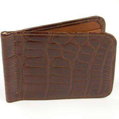 Wallets - Joseph Alligator Credit Card Money Clip In Cognac By Martin Dingman