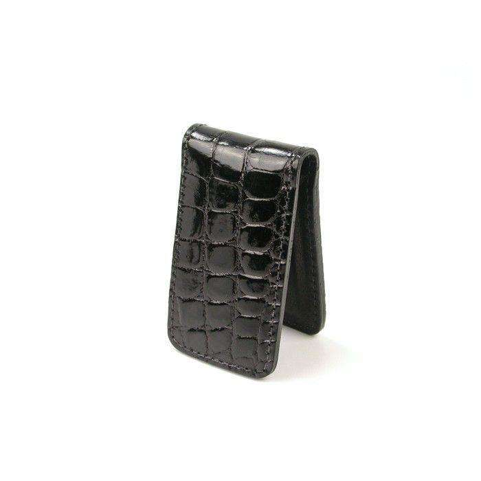 Wallets - Joseph Alligator Magnetic Money Clip In Black By Martin Dingman