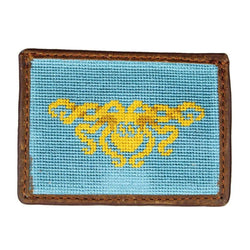 Kraken Needlepoint Credit Card Wallet in Turquoise by Smathers & Branson
