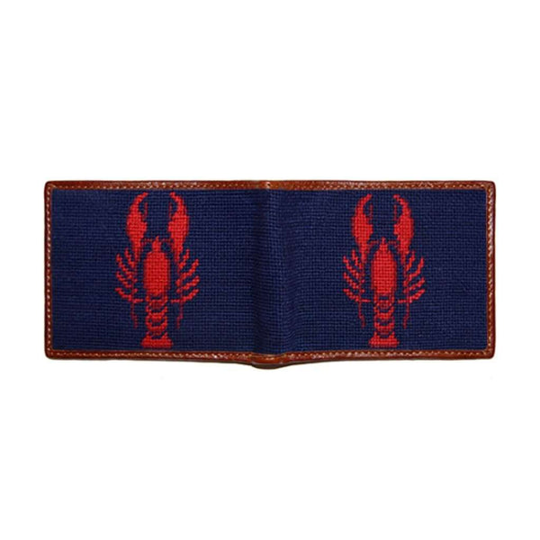 Wallets - Lobster Needlepoint Wallet In Dark Navy By Smathers & Branson