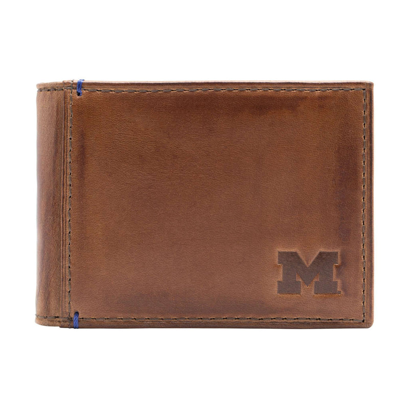 Wallets - Michigan Wolverines Campus Flip Bifold Front Pocket Wallet By Jack Mason