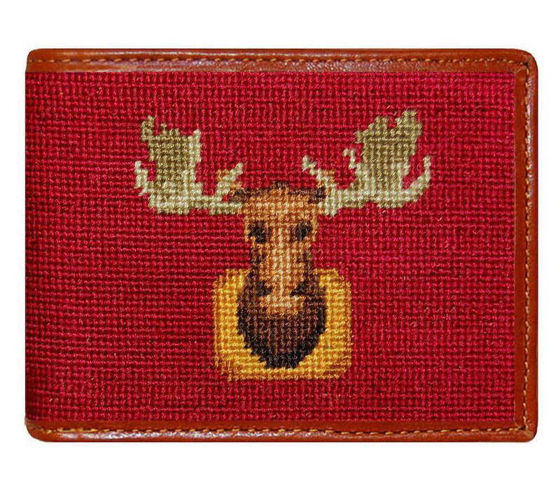 Wallets - Moose Needlepoint Wallet In Maroon By Smathers & Branson