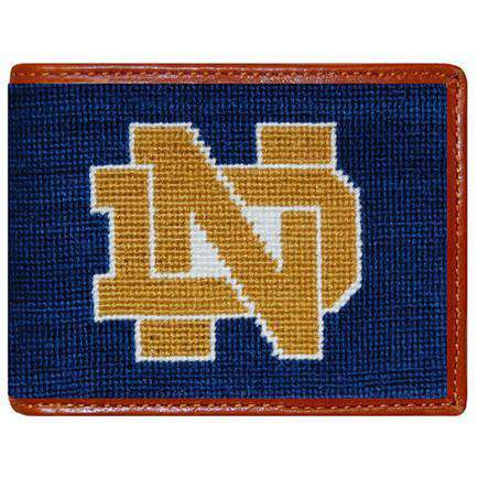 Wallets - Notre Dame Needlepoint Wallet In Navy By Smathers & Branson