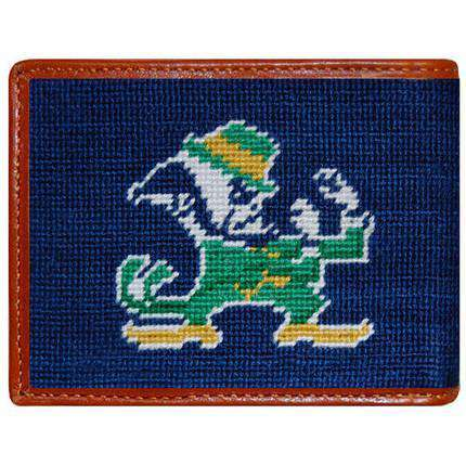 Notre Dame Needlepoint Wallet in Navy by Smathers & Branson