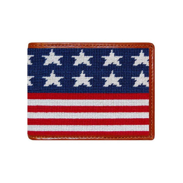 Wallets - Old Glory Needlepoint Wallet In Red, White And Blue By Smathers & Branson