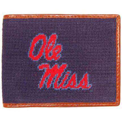 Wallets - Ole Miss Needlepoint Wallet In Navy By Smathers & Branson
