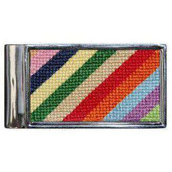 Wallets - Parsons Stripe Needlepoint Money Clip By Smathers & Branson