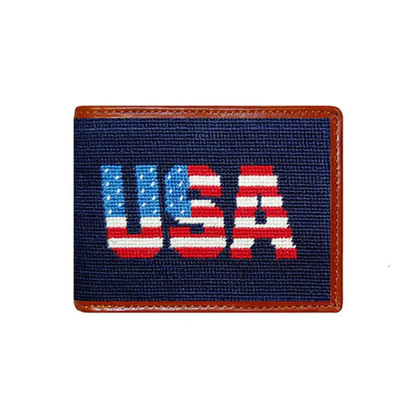 Wallets - Patriotic USA Needlepoint Wallet In Dark Navy By Smathers & Branson