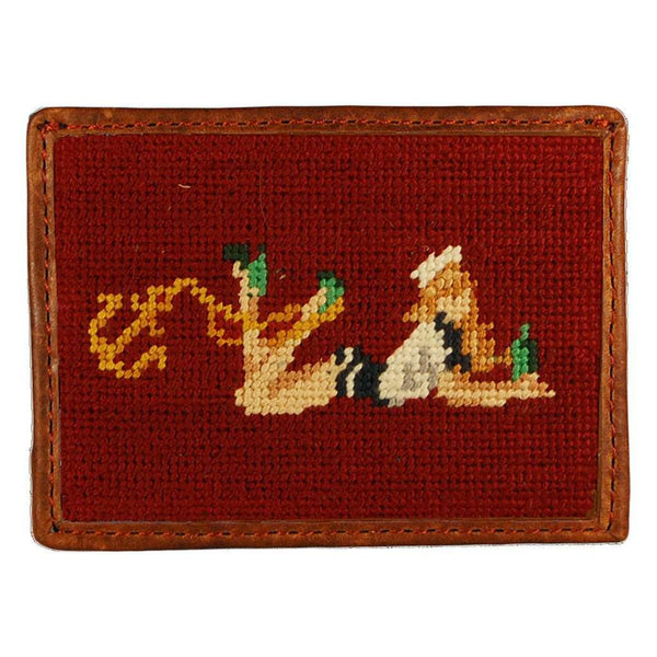 Pin-Up Girl Needlepoint Credit Card Wallet in Light Burgundy by Smathers & Branson