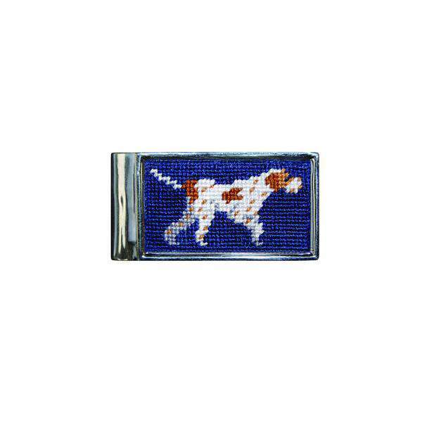 Pointer Needlepoint Money Clip in Navy by Smathers & Branson