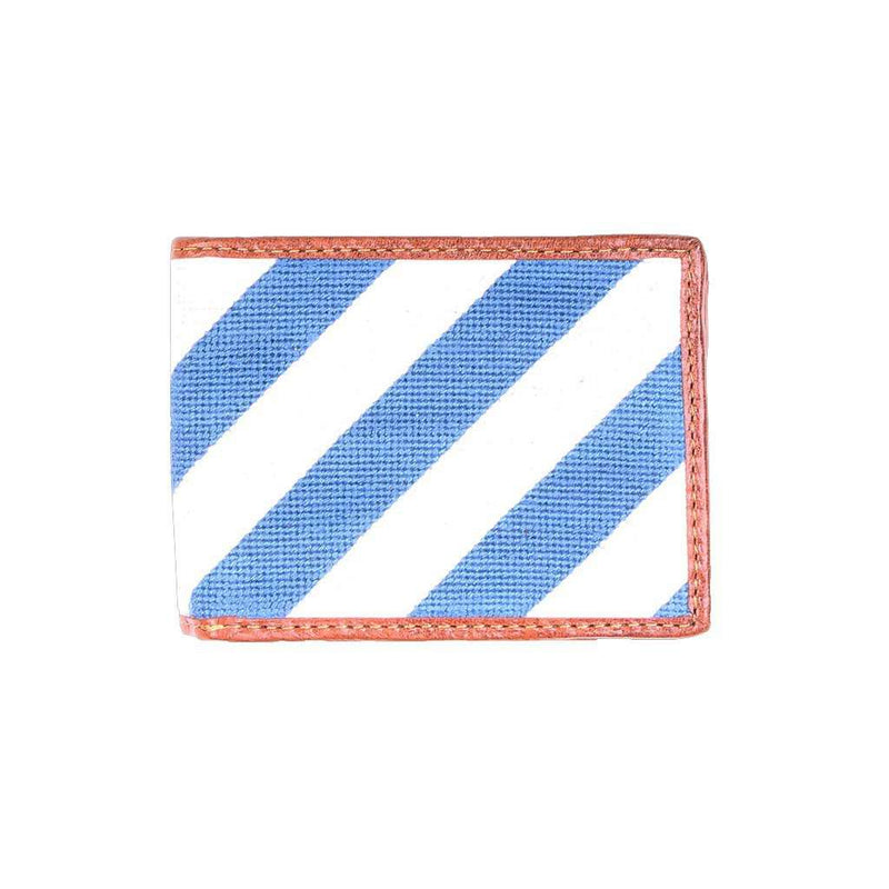 Repp Stripe Needlepoint Bi-Fold Wallet in Blue and White by Smathers & Branson