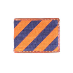 Repp Stripe Needlepoint Bi-Fold Wallet in Orange and Dark Navy by Smathers & Branson