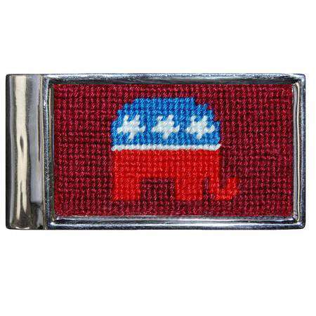 Wallets - Republican Needlepoint Money Clip By Smathers & Branson
