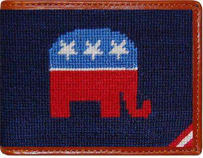 Wallets - Republican Needlepoint Wallet In Blue By Smathers & Branson