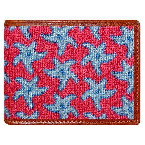 Wallets - Starfish Needlepoint Wallet In Coral By Smathers & Branson