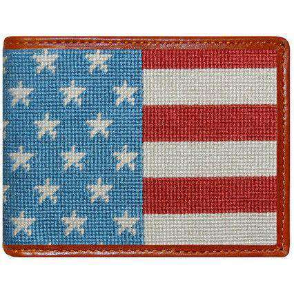 Wallets - Stars And Stripes Needlepoint Bi-Fold Wallet By Smathers & Branson