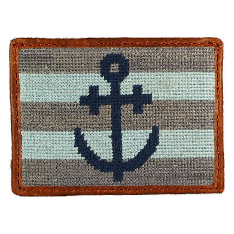 Striped Anchor Needlepoint Credit Card Wallet in Blue and Grey by Smathers & Branson