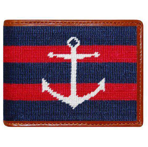 Wallets - Striped Anchor Needlepoint Wallet In Navy And Red By Smathers & Branson