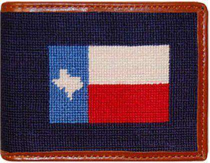 Texas Flag Needlepoint Wallet in Navy by Smathers & Branson
