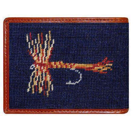 Trout and Fly Needlepoint Wallet in Navy by Smathers & Branson