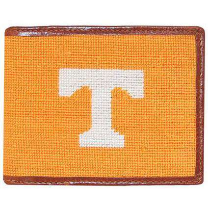 Wallets - University Of Tennessee Power T Needlepoint Wallet In Orange And White By Smathers & Branson