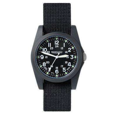 Watches - A-3P Sportsman Vintage Field Watch In Black Band With Black Dial By Bertucci - FINAL SALE