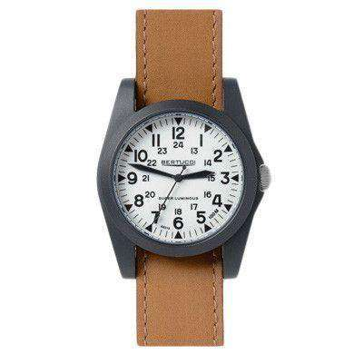 A-3P Sportsman Vintage Field Watch in British Tan Leather Band with White Dial by Bertucci - FINAL SALE