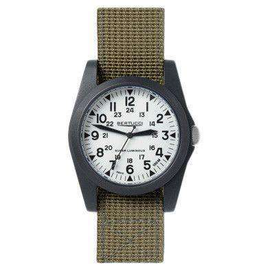 Watches - A-3P Sportsman Vintage Field Watch In Drab Band With White Dial By Bertucci - FINAL SALE