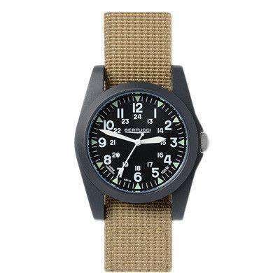 A-3P Sportsman Vintage Field Watch in Khaki Band with Black Dial by Bertucci - FINAL SALE