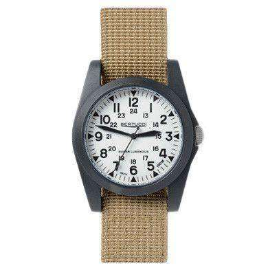 A-3P Sportsman Vintage Field Watch in Khaki Band with White Dial by Bertucci - FINAL SALE