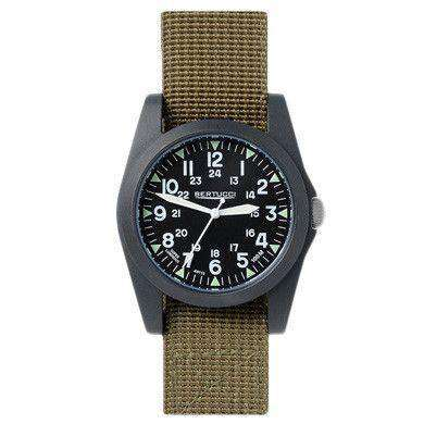 Watches - A-3P Sportsman Vintage Field Watch In Olive Band With Black Dial By Bertucci - FINAL SALE