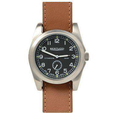 A-3T Vintage 42 Performance Watch in British Tan Leather Band with Black Dial by Bertucci - FINAL SALE