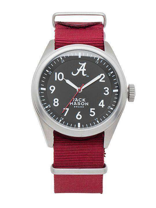 Watches - Alabama Crimson Tide Men's Nato Solid Strap Watch By Jack Mason