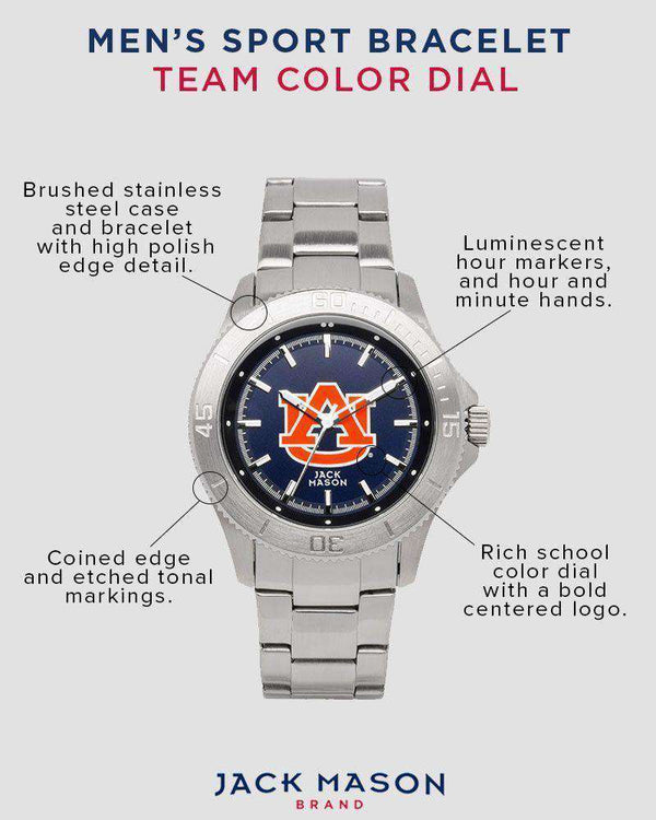 Watches - Auburn Tigers Sport Bracelet Team Color Dial Watch By Jack Mason