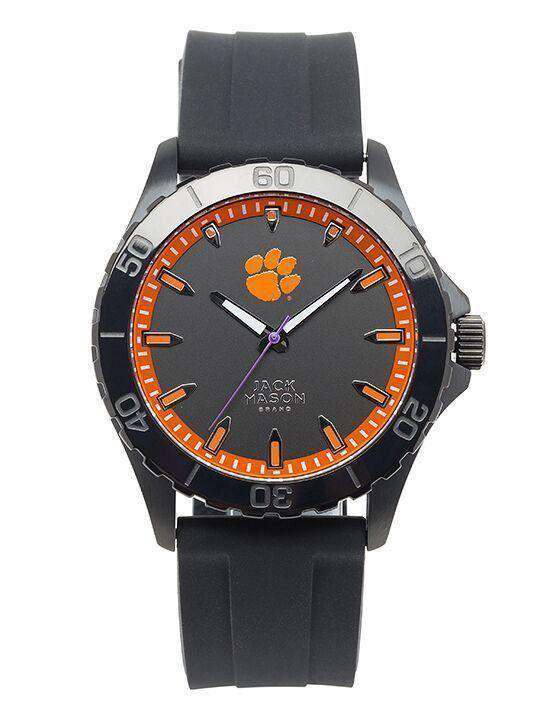 Watches - Clemson Tigers Men's Blackout Silicone Strap Watch By Jack Mason