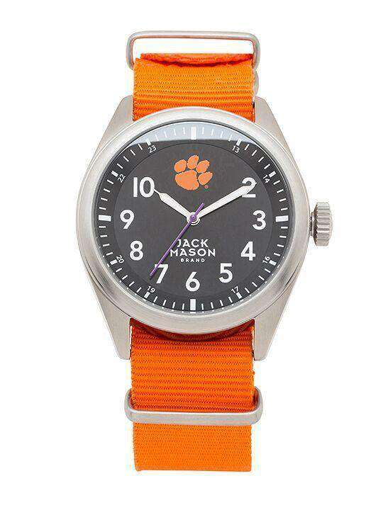 Watches - Clemson Tigers Men's Nato Solid Strap Watch By Jack Mason